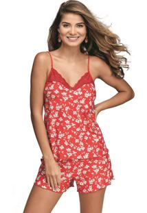 Pijama Curto Shortdoll Cabernet Demillus 20430 Chic Red - Tricae