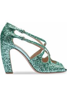 Miu Miu Sandália De Tiras Com Brilho - Verde