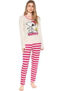 Pijama Snoopy Estampado Off-White