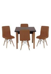 Conjunto Mesa De Jantar Luiza 80Cm Preta Com 4 Cadeiras Gomos - Marrom