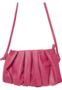 Bolsa Laura Prado Couro Pequena Transversal Pink
