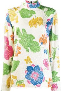 Etro Blusa Floral Com Mangas Longas - Neutro