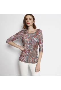 fbbe327c7 ... Blusa Arabescos- Off White & Laranja Escuro- Simple Simple Life