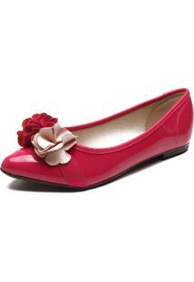 Sapatilha Moleca Verniz Flores Rosa