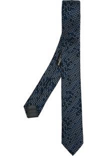 Emporio Armani Gravata De Seda Padronagem - Azul
