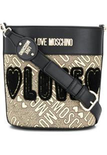 Love Moschino Bolsa Saco Com Bordado Love - Preto