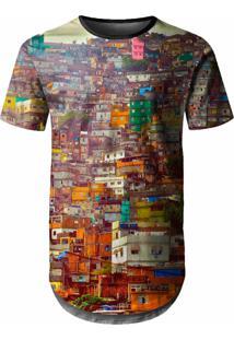 Camiseta Longline Over Fame Favela Multicolorido
