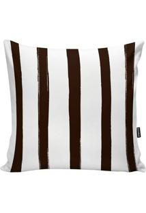 Capa De Almofada Stripes- Branca & Marrom Escuro- 45Stm Home
