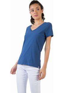 Blusa Gola V Básica Flamê Azul Jeans