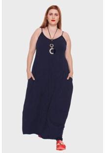 Vestido Longo Com Alças Finas Plus Size Feminino - Feminino-Marinho