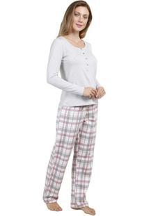 Pijama Inspirate Feminino Com Polo E Calça Feminino - Feminino-Cinza