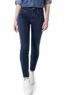 Calça Azul Skinny Em Jeans Power Stretch
