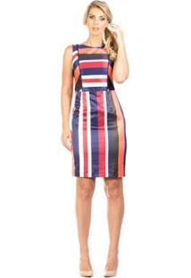 Vestido Estampado Modelagem Reta Cintura Marcada Lume - Feminino-Vermelho+Azul