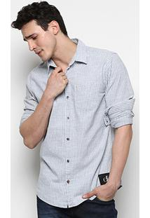 Camisa Calvin Klein Slim Fit Listras Masculina - Masculino-Azul Claro