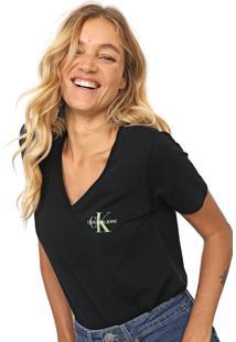 Blusa Calvin Klein Jeans Monograma Preta