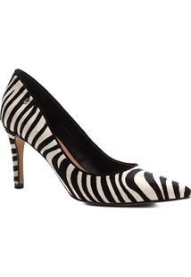 Scarpin Couro Shoestock Salto Alto Wild Cat - Feminino-Preto+Branco