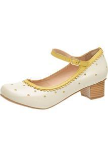 Sandália Retrô Boneca Touro Boots Feminina Off White E Amarelo - Kanui
