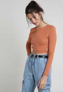 Blusa Feminina Cropped Canelada Com Vazados Manga Longa Decote Redondo Marrom Claro