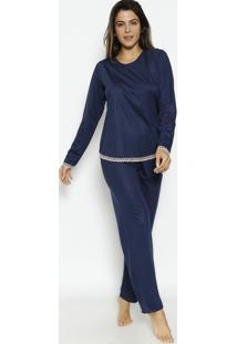 Pijama Liso Com Renda- Azul Marinho & Rosa Claro- Zuzulai