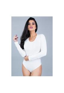 Body Mvb Modas Manga Longa Costa Fechada Veludo Branco