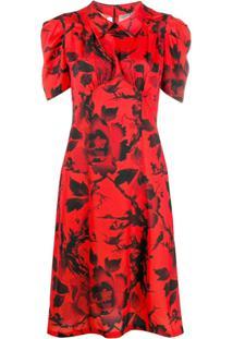 Mcq Alexander Mcqueen Vestido Mangas Curtas Com Estampa Floral - Vermelho