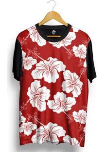 Camiseta Bsc Flower Red N White Full Print - Masculino