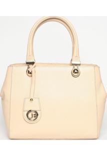 Bolsa Em Couro Com Bag Charm- Bege Claro- 25X30X10Cmjorge Bischoff