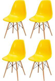 Kit 04 Cadeiras Decorativas Lyam Decor Eiffel Charles Amarelo.