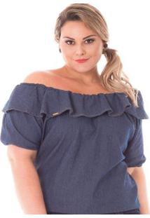 c3a31ca9c882 ... Blusa Jeans Feminina Ciganinha Plus Size - Feminino-Azul