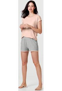 Pijama Curto Feminino Em Fio Tinto