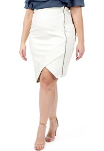 Saia Almaria Plus Size Lady More Couro Off White