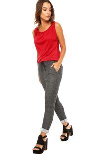 Macacão Calvin Klein Jeans Contrastante Vermelho/Cinza