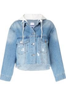Sjyp Jaqueta Jeans Cropped Com Capuz - Azul