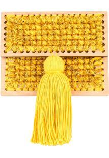 0711 Bolsa Clutch Trançada 'Copacabana' Pequena - Amarelo
