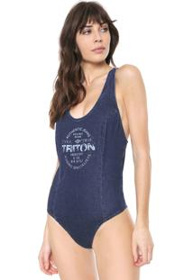 Body Triton Lettering Azul - Azul - Feminino - Dafiti