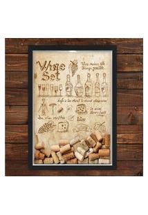Quadro Caixa 33X43 Porta Rolha Vinho Nerderia E Lojaria Wine Set Preto