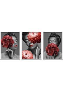 Quadro 60X120Cm Bessie Mulher Com Flores Vermelhas Moldura Branca Com Vidro