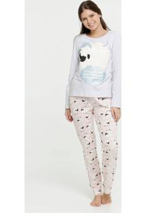 Pijama Feminino Estampa Ovelha Manga Longa Marisa