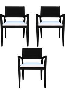 Kit 3 Cadeiras Decorativas Sala De Jantar Megan Preto Linho Bege - Gran Belo