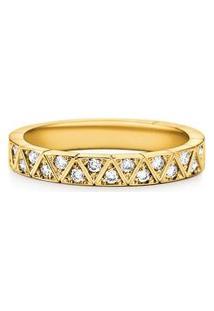 Aliança De Casamento Ouro Amarelo Com Diamantes (3.4 Mm)