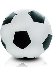 Puff Infantil Bola De Futebol Em Courino - Branco E Preto - Stay Puff