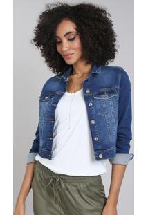 Jaqueta Jeans Feminina Slim Cropped Azul Médio