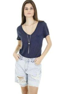 Bermuda Jeans Aha Devalé Five Pocket Feminino - Feminino-Azul