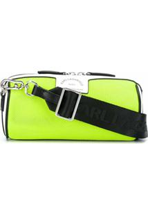 Karl Lagerfeld Bolsa Transversal Com Logo Perfurado - Verde