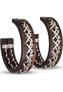 Brinco Wooden Design Argolas Amarras Duplas - Madeira E Prata