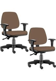 Kit 02 Cadeiras Giratórias Lyam Decor Job Corino Camel - Tricae