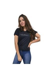 Camiseta Feminina Gola V Cellos Stretched Premium Preto