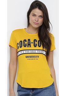 Camiseta Coca Cola University Feminina - Feminino-Amarelo Escuro