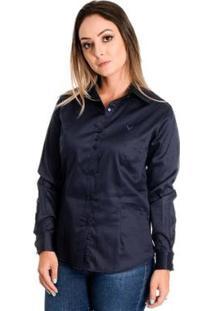 Camisa Pimenta Rosada Dominique - Feminino-Azul Escuro