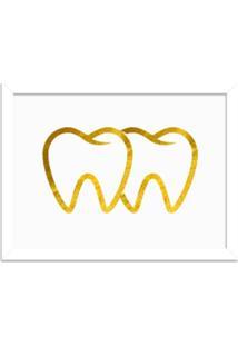 Quadro Decorativo Em Relevo Espelhado Dente Dourado Branco - Médio